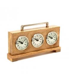 CLOCK ALUM/NICKEL WOOD