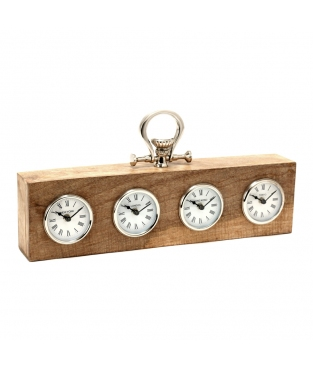 CLOCK ALUM/WOOD