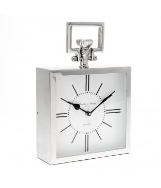 CLOCK OXFORD ALUM/NIQUEL
